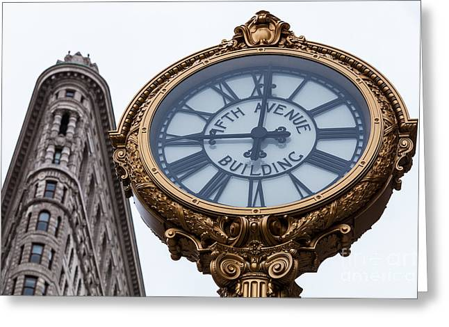 5th Greeting Cards - 5th Avenue Clock Greeting Card by John Farnan