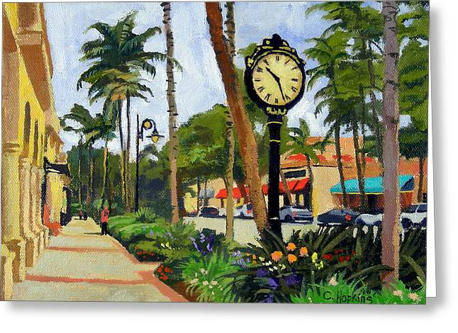 Sand Fences Paintings Greeting Cards - 5th Avenue Naples Florida Greeting Card by Christine Hopkins