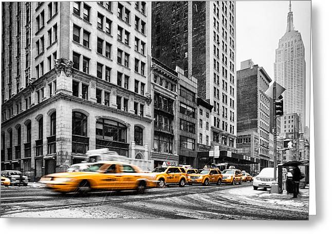 Fine Art In America Greeting Cards - 5th Avenue yellow cab Greeting Card by John Farnan