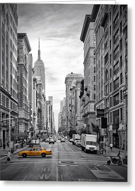 Modern Art Greeting Cards - 5th Avenue Yellow Cab Greeting Card by Melanie Viola