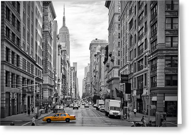 Traffic Greeting Cards - 5th Avenue Yellow Cab Greeting Card by Melanie Viola