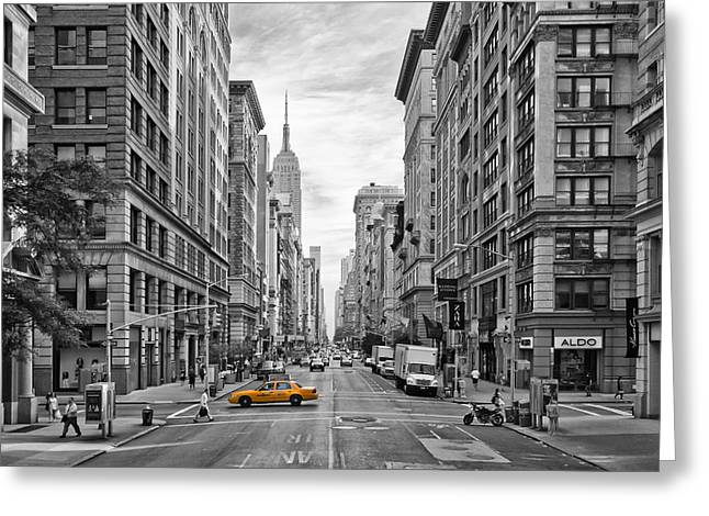 Pavement Greeting Cards - 5th Avenue Yellow Cab - NYC Greeting Card by Melanie Viola