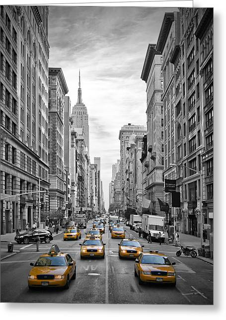 Modern Art Greeting Cards - 5th Avenue Yellow Cabs Greeting Card by Melanie Viola