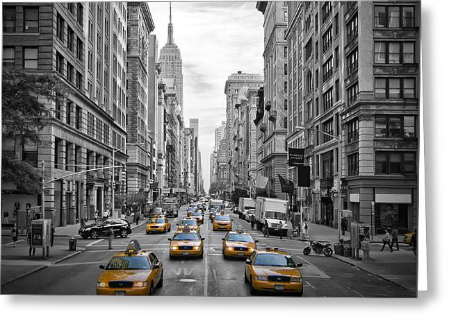 Traffic Greeting Cards - 5th Avenue Yellow Cabs Greeting Card by Melanie Viola