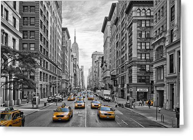 Street Art Greeting Cards - 5th Avenue Yellow Cabs - NYC Greeting Card by Melanie Viola