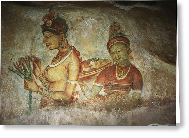 Adjectives Greeting Cards - 5th Century Cave Frescoes Greeting Card by Chris Caldicott