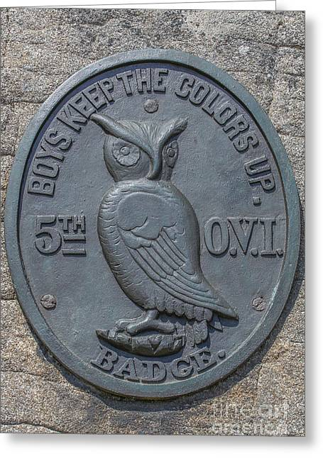 5th Regiment Greeting Cards - 5th Ohio Owl Marker Gettysburg Greeting Card by Randy Steele