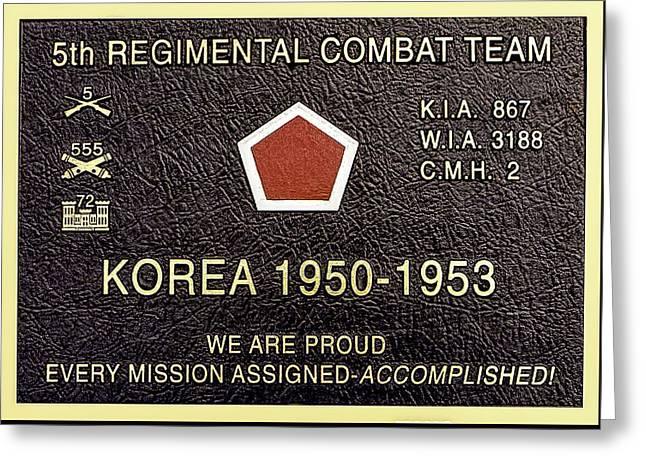 5th Regimental Combat Team Arlington Cemetary Memorial Greeting Card by Bob and Nadine Johnston