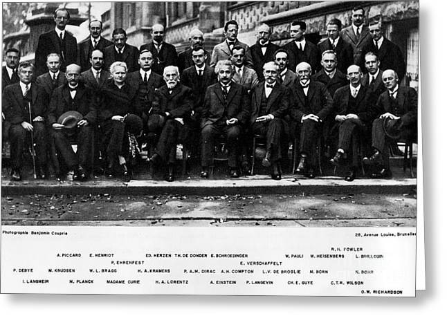 Planck Greeting Cards - 5th Solvay Conference of 1927 Greeting Card by Science Source