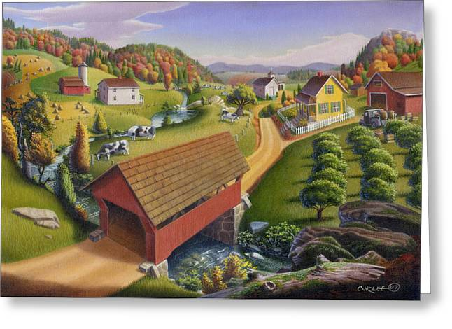 Tennessee Barn Paintings Greeting Cards - 5x7 greeting card Covered Bridge Appalachian Landscape  Greeting Card by Walt Curlee