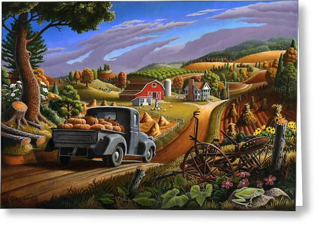 Blank Greeting Cards Greeting Cards - 5x7 greeting card Rural Country Farm Pumpkins Landscape Greeting Card by Walt Curlee