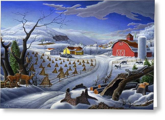 New England Snow Scene Paintings Greeting Cards - 5x7 greeting card Rural Winter Landscape Farm  Greeting Card by Walt Curlee