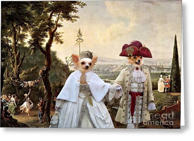 Chihuahua Art Print Greeting Cards -  Chihuahua Art Canvas Print Greeting Card by Sandra Sij