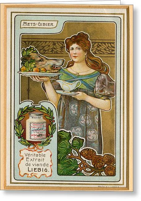 Card Stock Greeting Cards - 1890s France Liebig Cigarette Card Greeting Card by The Advertising Archives