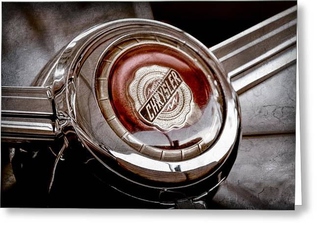 Steering Greeting Cards - 1949 Chrysler Town and Country Convertible Steering Wheel Emblem Greeting Card by Jill Reger