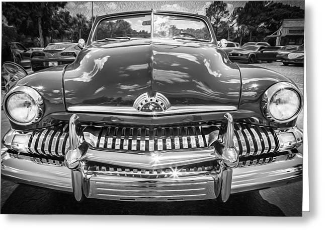 50 Merc Greeting Cards - 1951 Mercury Convertible Painted BW  Greeting Card by Rich Franco