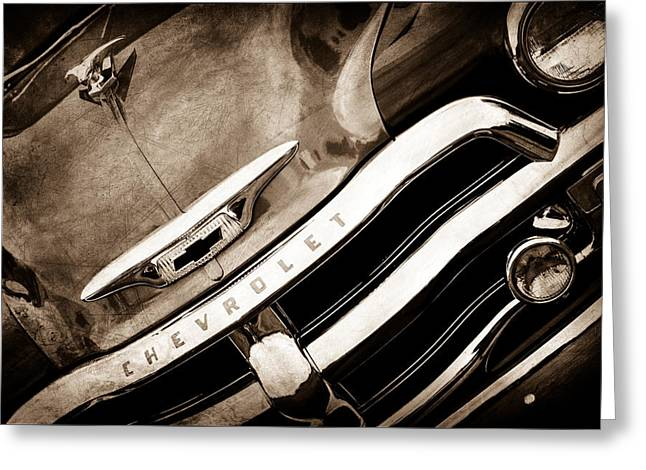 Classic Pickup Greeting Cards - 1955 Chevrolet 3100 Pickup Truck Grille Emblem Greeting Card by Jill Reger