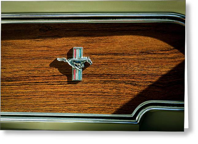 Mach 1 Greeting Cards - 1969 Ford Mustang Mach 1 Emblem Greeting Card by Jill Reger
