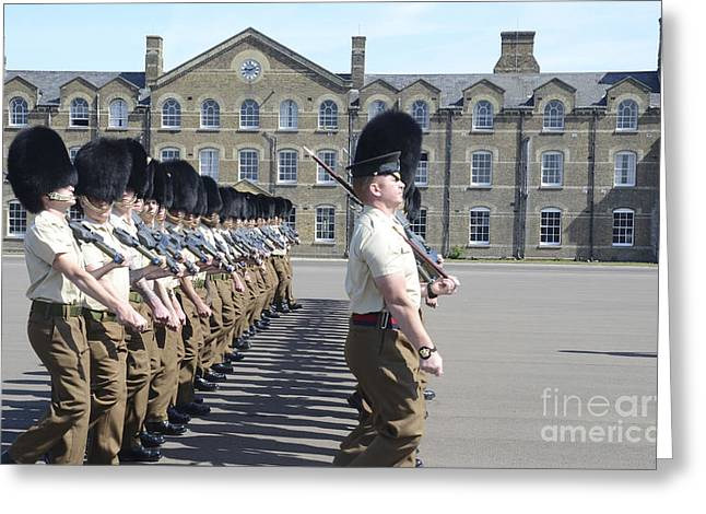 Division Of Responsibilities Greeting Cards - 1st Battalion Welsh Guards On The Drill Greeting Card by Andrew Chittock