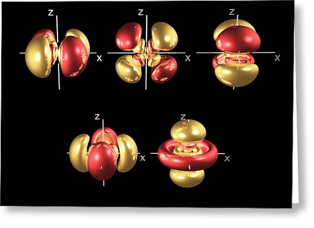Electron Orbital Greeting Cards - 5d Electron Orbitals Greeting Card by Dr. Mark J. Winter
