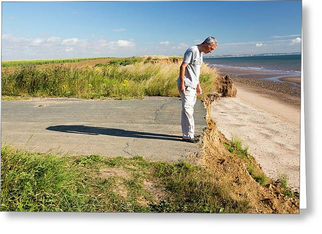 A Collapsed Coastal Road Near Aldbrough Greeting Card by Ashley Cooper