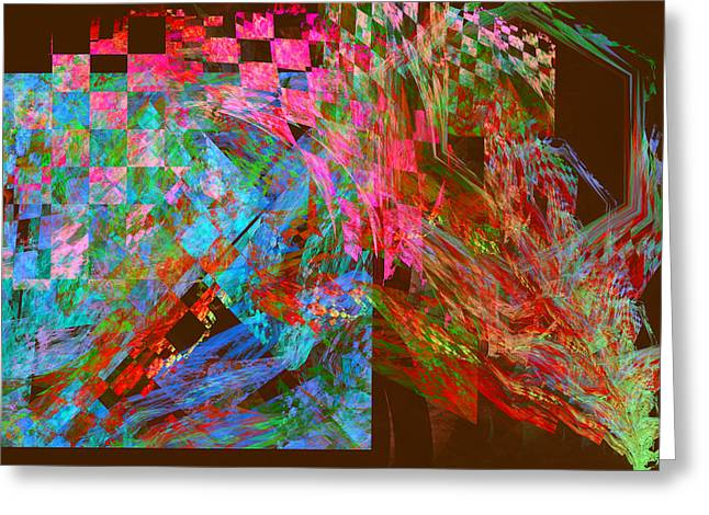 Geometric Design Digital Art Greeting Cards - Abstract Checkered Pattern Fractal Flame Greeting Card by Keith Webber Jr
