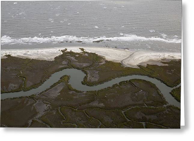 Jekyll Greeting Cards - Aerial Near Jekyll Island Greeting Card by Betsy C  Knapp