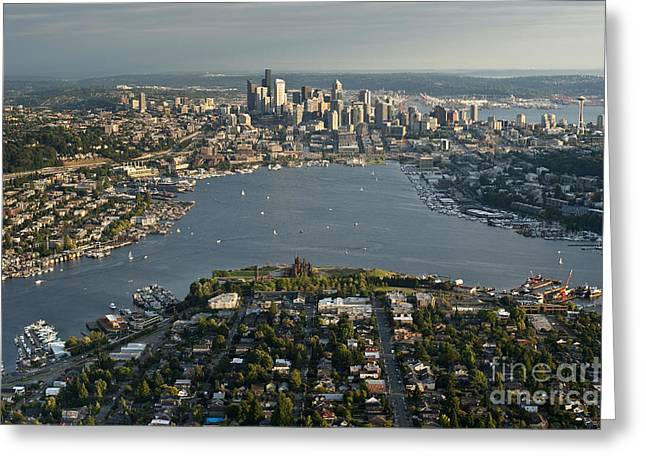 Us Destinations Greeting Cards - Aerial View Of Seattle Greeting Card by Jim Corwin
