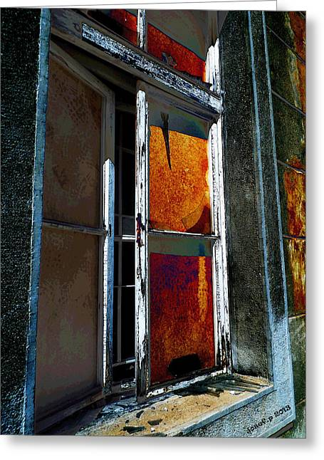 Poor Education Greeting Cards - Aging Alte Fenster Serie Greeting Card by Sir Josef  Putsche