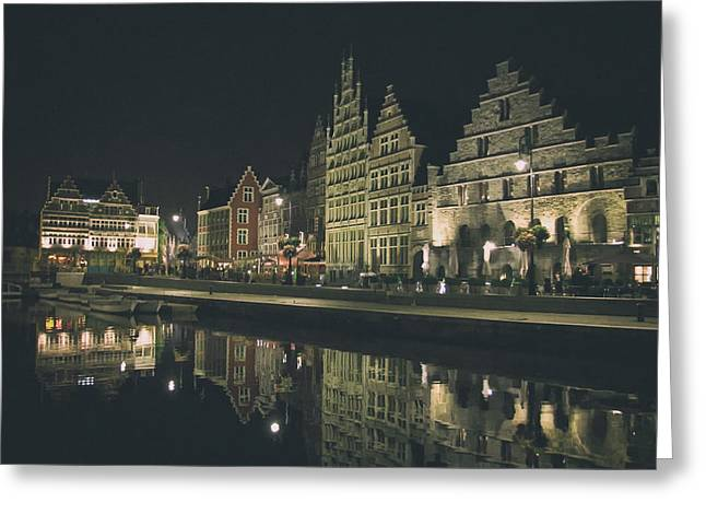 Night Cafe Greeting Cards - An Evening on the Waterfront in Ghent Greeting Card by Borissey