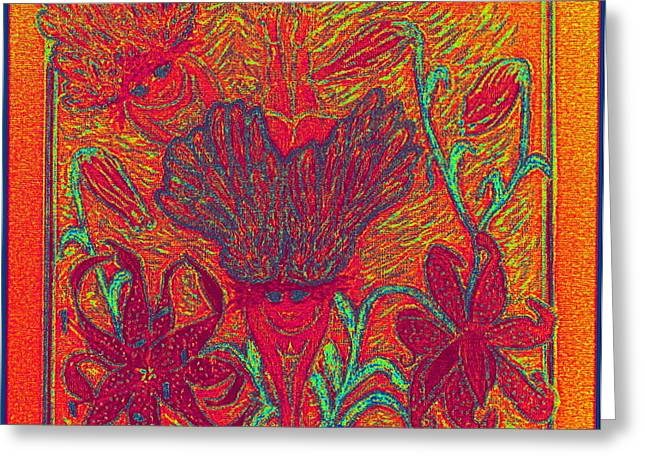 Jesus Pastels Greeting Cards - Angels at Play in Tiger Lilies Greeting Card by Lyn Blore Dufty