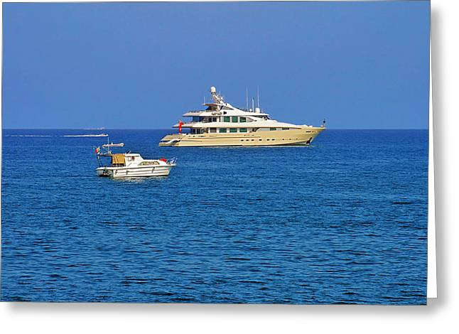 Riviera Greeting Cards - Antibes - Superyachts of Billionaires Greeting Card by Christine Till