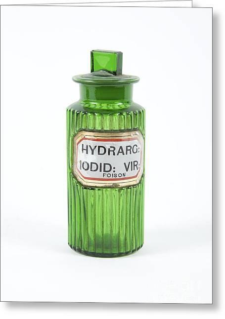 Glass Bottle Greeting Cards - Antique Medicine Bottle Greeting Card by Gregory Davies / Medinet Photographics