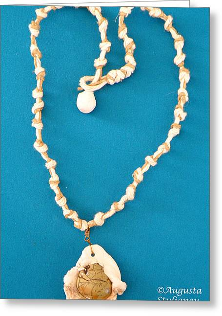 White Jewelry Greeting Cards - Aphrodite Antheia Necklace Greeting Card by Augusta Stylianou