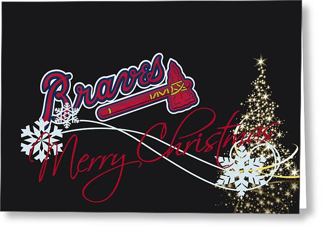 Glove Greeting Cards - Atlanta Braves Greeting Card by Joe Hamilton
