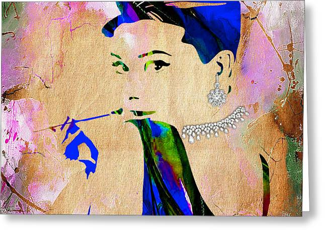 Actresses Greeting Cards - Audrey Hepburn Diamond Collection Greeting Card by Marvin Blaine