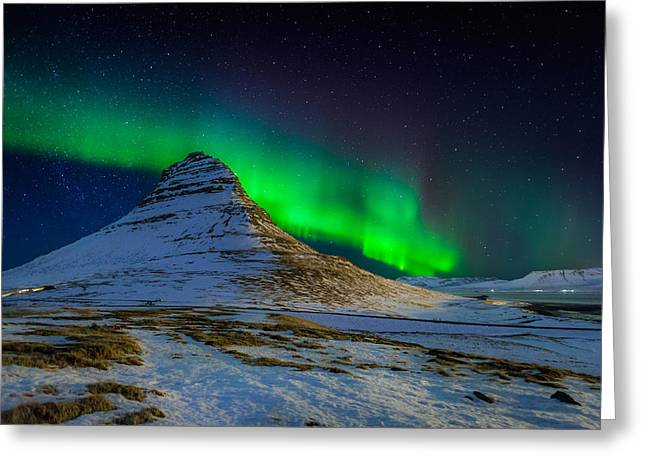 Calm Greeting Cards - Aurora Borealis Or Northern Lights Greeting Card by Panoramic Images