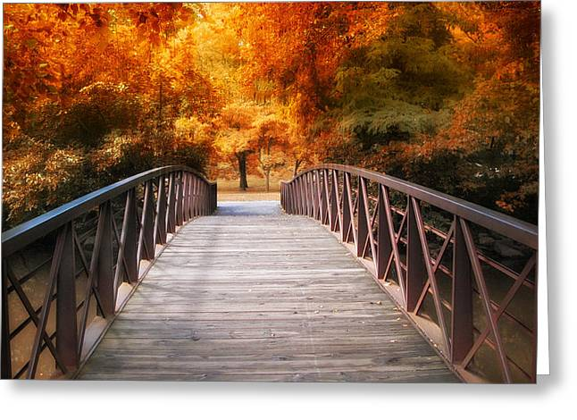 Bridge Greeting Cards - Autumn Crossing Greeting Card by Jessica Jenney