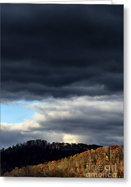 Passing Storm Greeting Cards - Autumn Hillside and Rain Clouds Greeting Card by Thomas R Fletcher