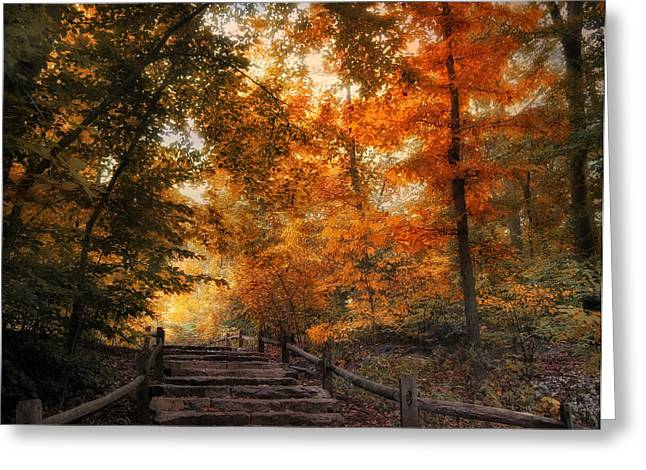 Woods Digital Art Greeting Cards - Autumn Trail Greeting Card by Jessica Jenney