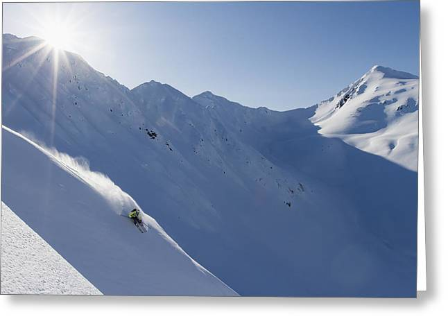 Apparel Greeting Cards - Backcountry Skiing In The Chugach Greeting Card by Scott Dickerson