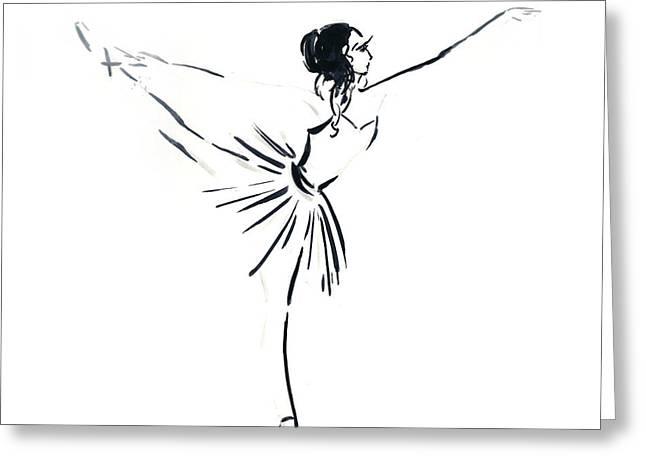 Ballet Dancers Drawings Greeting Cards - Ballerina Greeting Card by Sophia Rodionov