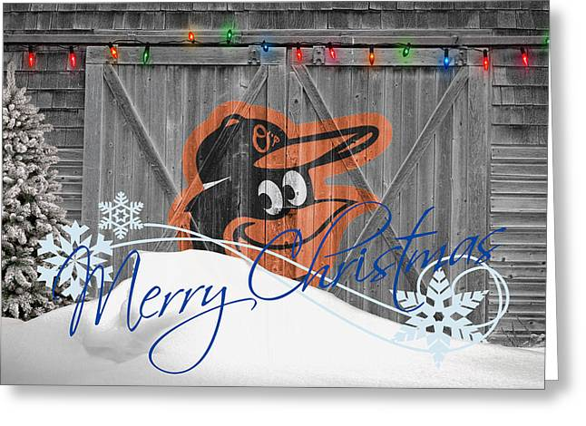 Barn Door Greeting Cards - Baltimore Orioles Greeting Card by Joe Hamilton