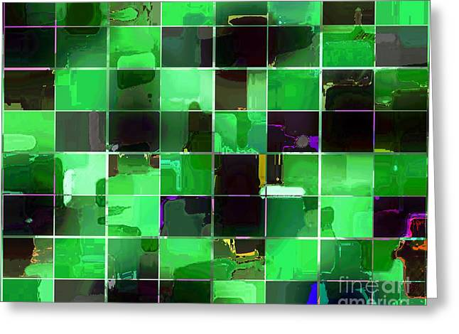 Tiled Tapestries - Textiles Greeting Cards - Tiled Blocks Green Glow Greeting Card by Barbara Griffin