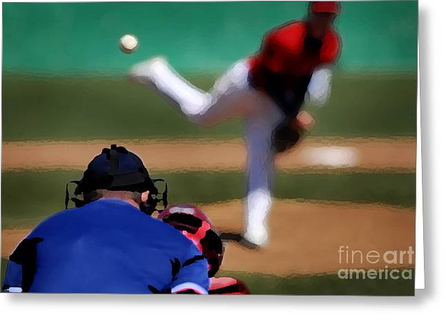 American Pastime Mixed Media Greeting Cards - Baseball Pitcher Greeting Card by Lane Erickson