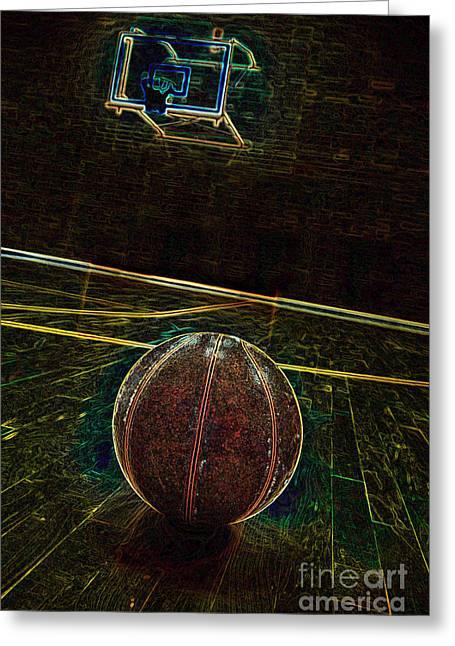Basket Ball Game Greeting Cards - Basketball and Basketball Court Greeting Card by Lane Erickson