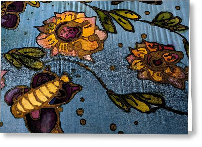 Roots Tapestries - Textiles Greeting Cards - Batik Greeting Card by Ali Mohamad
