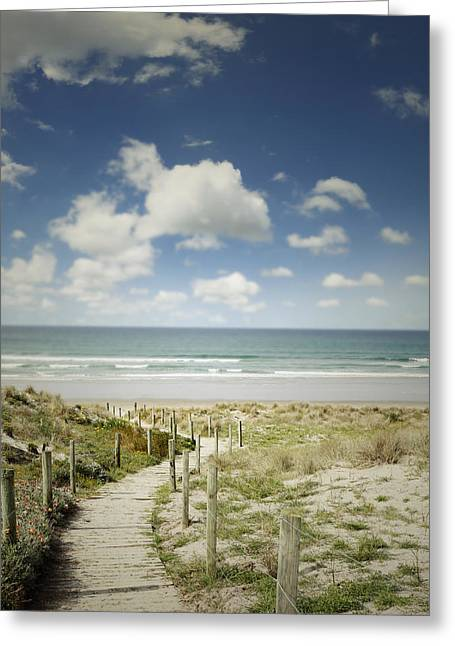 Concept Photographs Greeting Cards - Beach view Greeting Card by Les Cunliffe