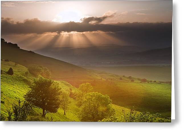 Beautiful English countryside landscape over rolling hills Greeting Card by Matthew Gibson