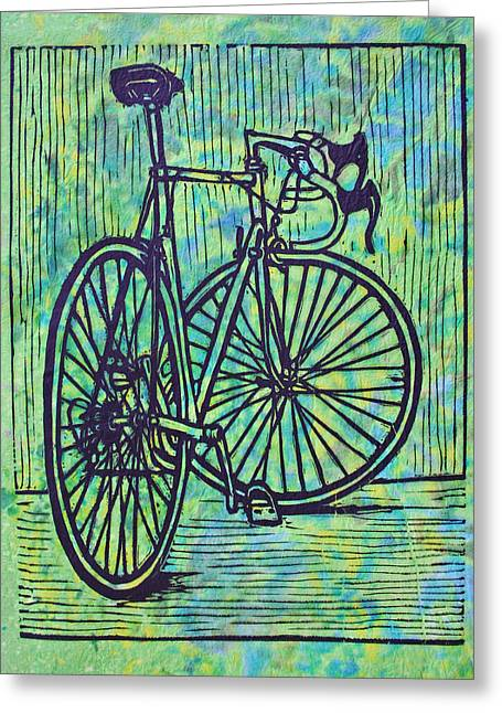 Lino Drawings Greeting Cards - Bike 4 Greeting Card by William Cauthern